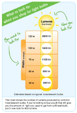 FTC Watts to Lumens chart, equivalency